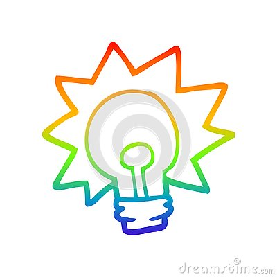A creative rainbow gradient line drawing cartoon shining light bulb