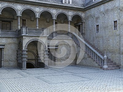 Ancient Stone Castle Courtyard Background