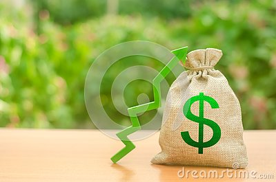 Money bag with dollar symbol and green up arrow. Increase profits and wealth. growth of wages. Favorable conditions for business.