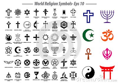 World religion symbols signs of major religious groups and other religions isolated.