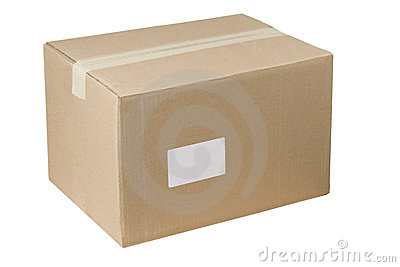 Closed shipping cardboard box whit and empty tag