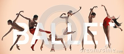 Young graceful female and male ballet dancers, creative collage