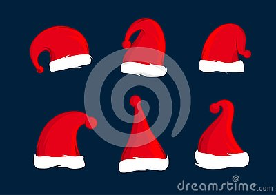 Set of Santa Claus red hats. Christmas hat decoration. Vector illustration design
