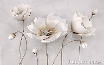 Illustration of beautiful White flower decorative on gray wall background 3D wallpaper. Graphical modern art