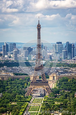 Aerial view of Paris with the Eiffel tower and la Defense business district skyline