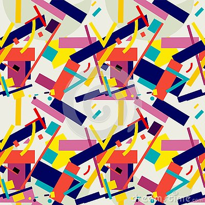 Suprematism seamless pattern a composition of geometric figures