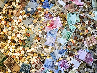 Overhead view of different international monies