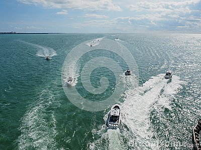 Powerboats in Biscayne Bay, Florida.