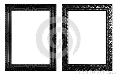 Set 2 - Antique black frame isolated on white background, clipping path