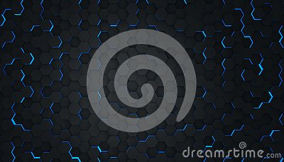 Clear pattern abstract background hexagon black and blue, wallpaper futuristic