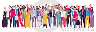 Multiethnic group of people. Society, multicultural community portrait and citizens. Young, adult and elder people