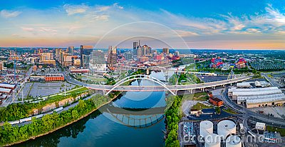 Nashville Tennessee TN Drone Skyline Aerial and Cumberland River
