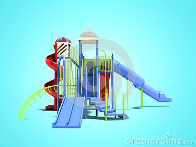 Blue playground for children with ladders with red spiral slide straight slide 3d render on blue background with shadow