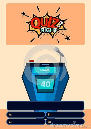 Quiz game with answers with sticker Quiz night on background. Brainy game. Vector illustration design