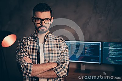 Portrait of confident brunet bearded guy ceo boss chief company founder professional expert specialist behind screen