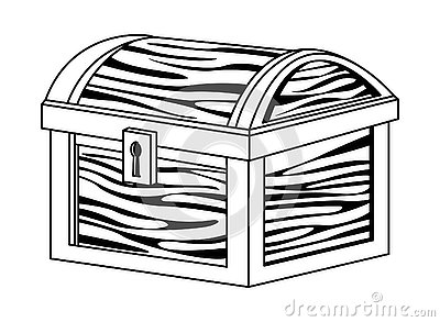 Antique wooden chest with keylock cartoon in black and white