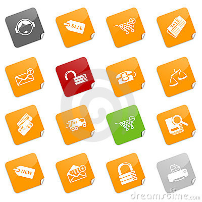 Sale and shopping icons - sticky series