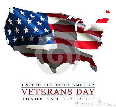 Veterans Day Art Logo American Flag USA Outline