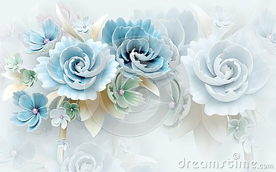 3d mural wallpaper abstract background with white and blue flowers