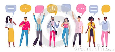 Communicating people. Chat dialog communication, smartphone call talking or speaking people group vector illustration