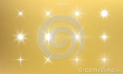 Star shine, golden light glow sparks, vector bright gold sparkles with lens flare effect. Isolated sun flash and starlight