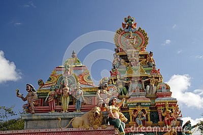 Top of an ancient Hindu temple in Mauritius Island.ation, is known for its beaches lagoons and