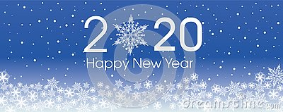 2020 Happy New Year card template. Design patern snowflakes