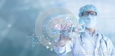 Abstract, Doctor checking and analysis alzheimer`s disease and dementia of brain, testing result on virtual interface, innovative