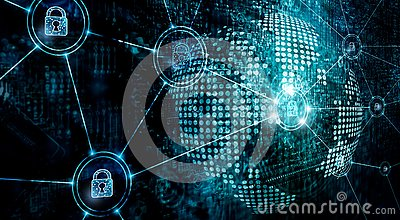 Cybersecurity on global network, information technology security services on internet