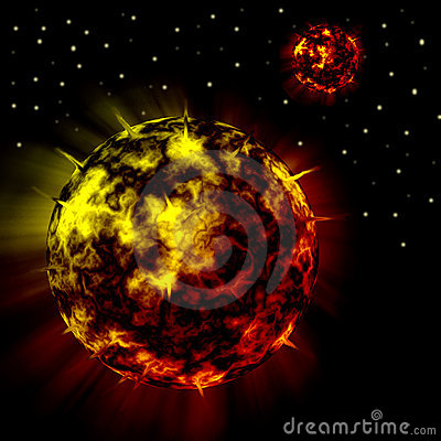 Fire Red Planets in Universe background
