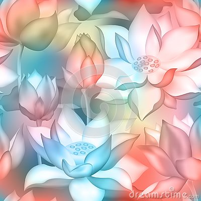 Lotus buds and flowers seamless wallpaper., Water lilly nelumbo aquatic plant botanical design.