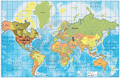 Detailed World Map with all Names of Countries on