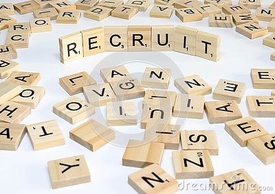 Human resources management term wooden abc recruit