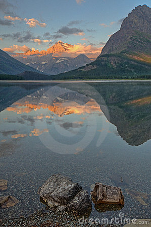 Mount Gould reflecting on Swiftcurrent Lake