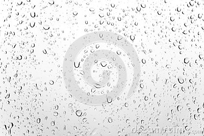 Random Raindrop Transparent on the Glass Window After Rainy Day