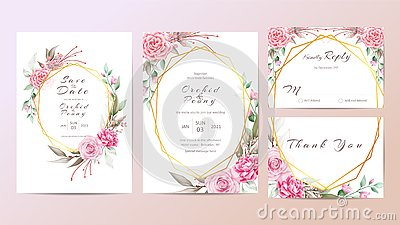 Beautiful wedding invitation cards template of watercolor flowers
