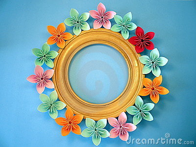 Frame With Origami Flowers