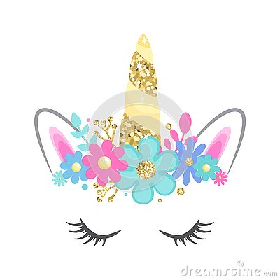 Vector unicorn face with closed eyes and flowers. Gold glitter horn