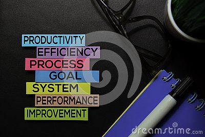 Productivity, Efficiency, Process, Goal, System, Performance, Improvement text on sticky notes isolated on Black desk. Mechanism