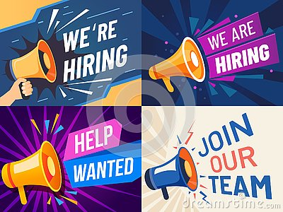 Now hiring banner. We are hiring, join our team and vacancy announcement flyer template vector set