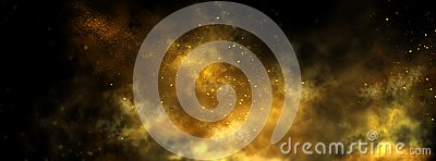 Abstract gold dust background over black. Beautiful golden art widescreen background