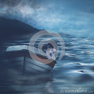 Portrait of a child in a boat