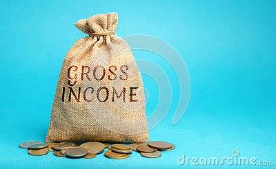 Money bag with the word Gross Income. Profits, wages, salaries, interest payments, rents before taxes. Concept of business and