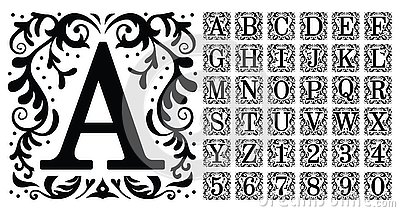 Vintage monogram letters. Decorative ornamental ancient capital letter, old alphabet monograms and filigree ornament