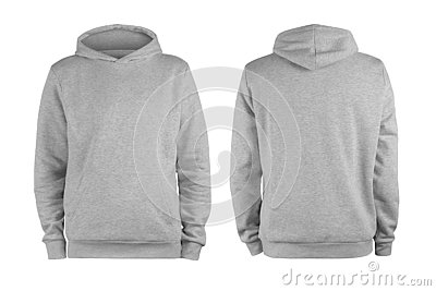 Men grey blank hoodie template,from two sides, natural shape on invisible mannequin, for your design mockup for print, isolated on