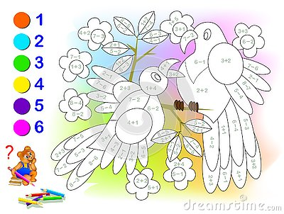 Educational page with exercises for children on addition and subtraction. Solve examples and paint the birds in relevant colors.