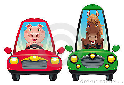 Animals in the car: Pig and Horse.