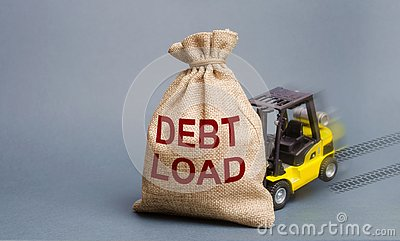 Forklift unable to pick up a bag with the inscription Debt Load. Debt burden, financial difficulties in repayment. Credit