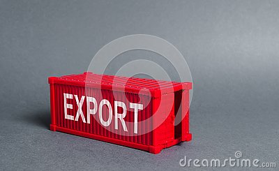Red cargo shipping container with the word Export. The concept of foreign trade and transportation of goods, delivery, shipping