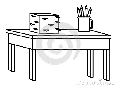 Desk with documents piled and pencils in cup in black and white